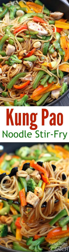 Kung Pao Noodle Stir-Fry recipe with chicken and fresh veggies! Recipe from Tastes Better From Scratch