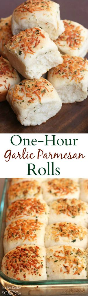 Soft and fluffy rolls with garlic and parmesan topping made from start to finish in ONE HOUR! Recipe from Tastes Better From Scratch