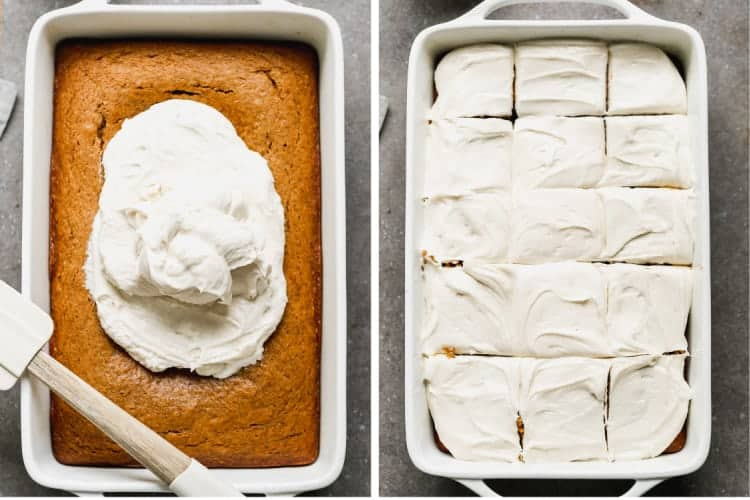 Two process photos of frosting being smoothed over a pumpkin cake, then the cake cut into squares.