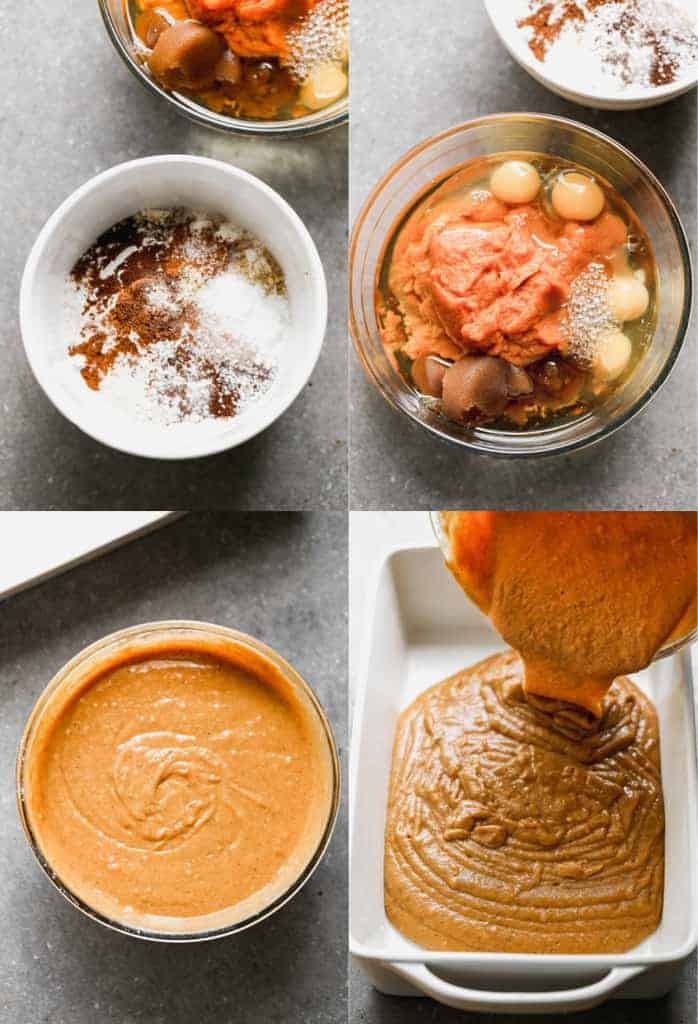 Four process photos for making the batter for pumpkin cake and pouring it into a baking dish.