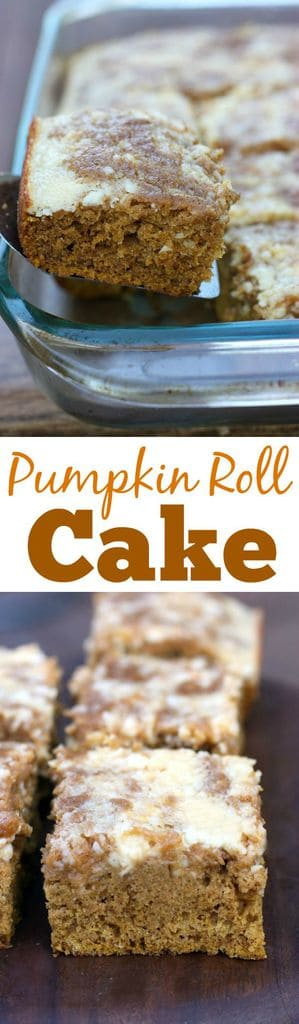 Pumpkin Roll Cake is just as delicious, but so much easier than a pumpkin roll! Recipe on TastesBetterFromScratch.com