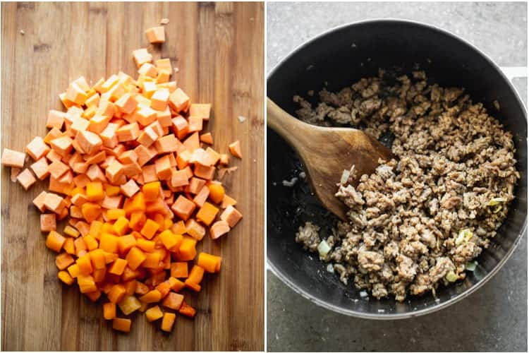 A wood cutting board with peeled and cubed butternut squash and sweet potato next to a skillet with browned sausage and a wooden spoon..