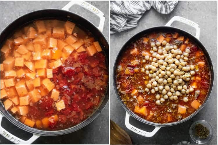 A white skillet with broth and chopped sweet potato and squash next to another photo of the skillet with garbanzo beans added.