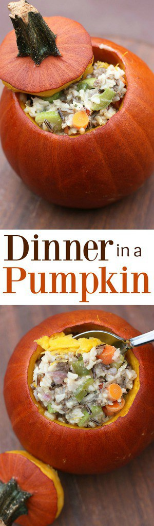 Dinner in a Pumpkin -- a delicious, hearty rice casserole baked inside a delicious pumpkin! Recipe from Tastes Better from Scratch