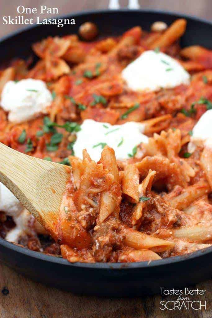 One Pan Skillet Lasagna recipe from TastesBetterFromScratch