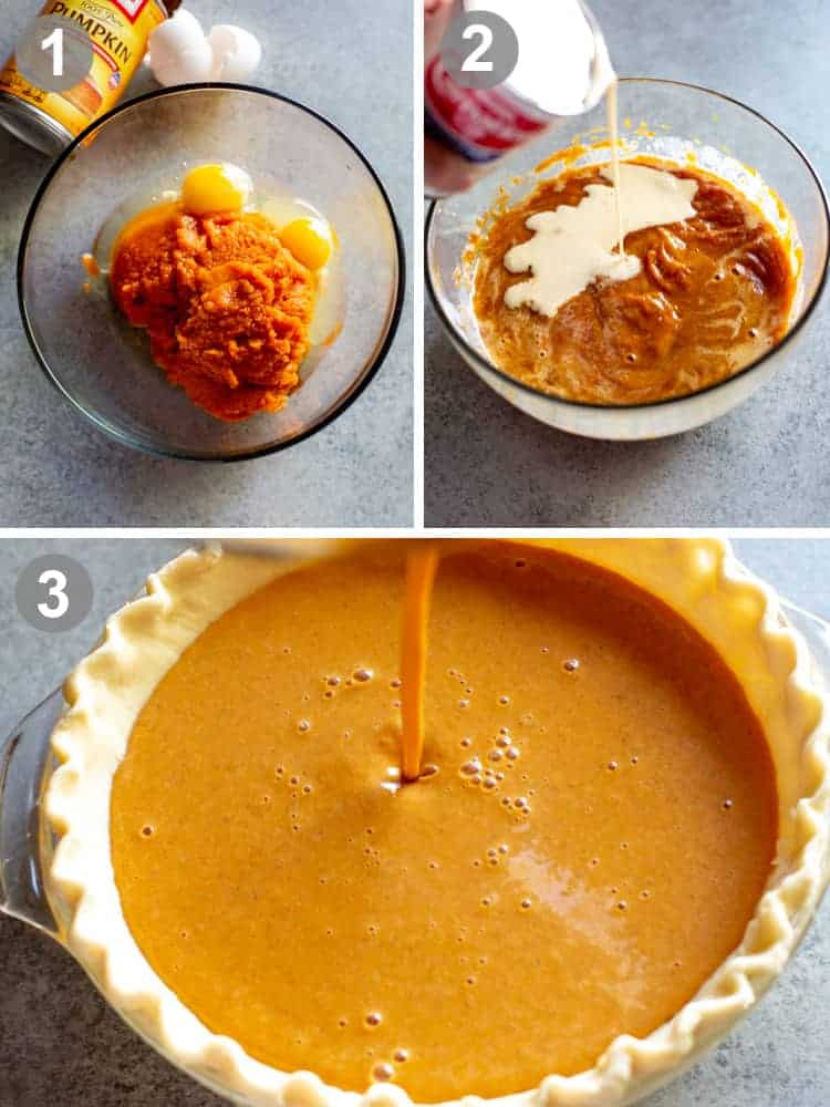 Three process photos for mixing pumpkin pie and pouring the batter in a pie shell.