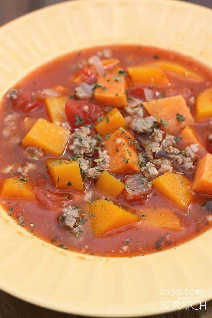 Autumn Squash and Sweet Potato Soup recipe from Tastes Better From Scratch
