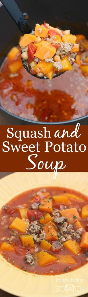 Butternut Squash and Sweet Potato Soup--this recipe is my FAVORITE during the fall! And it's so easy to make. Recipe from Tastes Better From Scratch