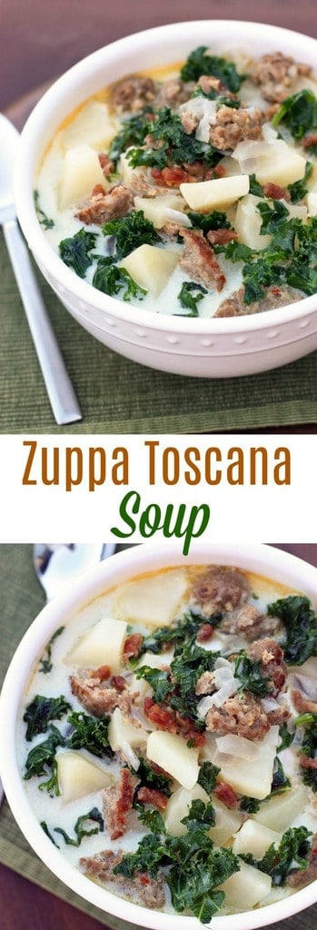 Creamy Italian soup with sausage, potatoes, chopped kale and bacon. This easy, comforting Zuppa Toscana Soup is always a crowd favorite!