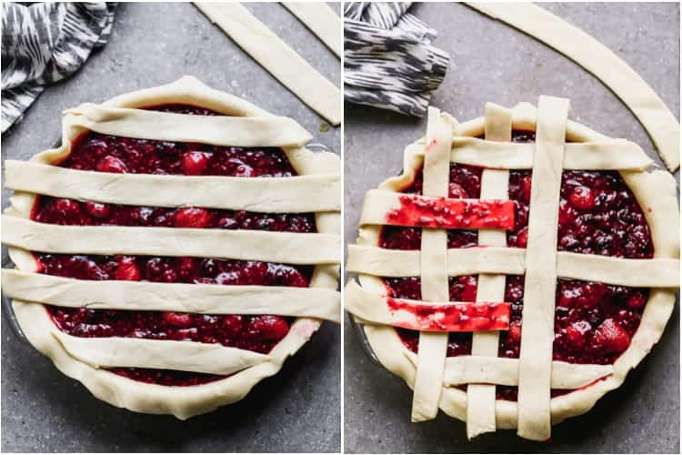 Process photos for adding a lattice crust to a berry pie.