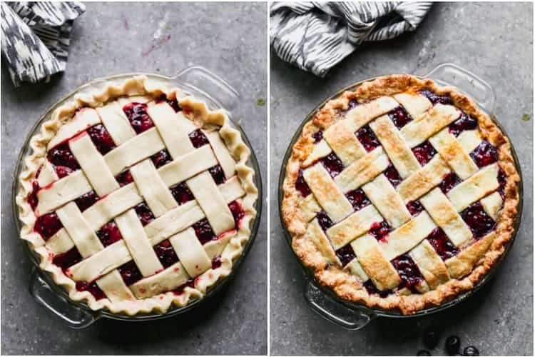 Before and after photos of an unbaked and then baked berry pie with lattice crust.