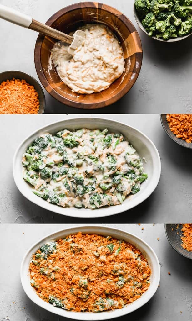 Three process photos for making Broccoli Casserole.