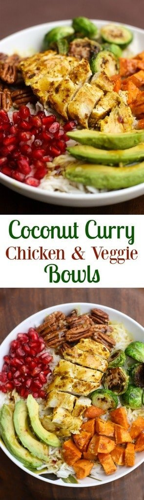 Coconut Curry Chicken and Veggie Bowls - made with coconut rice, roasted autumn vegetables and a sweet curry sauce. | Tastes Better From Scratch