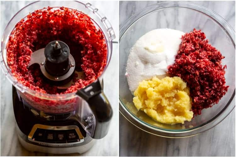 A food processor with chopped cranberries and a mixing bowl with the cranberries, crushed pineapple and sugar.