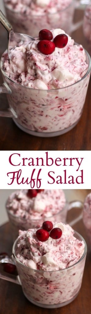 Cranberry Fluff Salad is an easy holiday side dish that's always a crowd favorite! It's creamy, sweet and delicious! | Tastes Better From Scratch