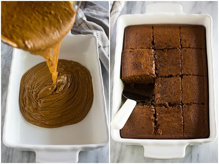Gingerbread cake batter being poured into a white baking dish next to another photo of the baked gingerbread cake cut into pieces.