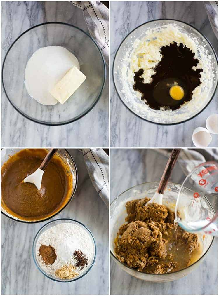 Four process photos for making gingerbread cake including mixing the wet and dry ingredients, combining them, and stirring in boiling water.