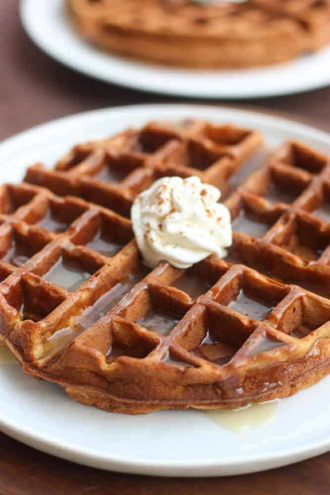 A holiday gingerbread waffle on a white plate topped with whipped cream and another waffle in the background.
