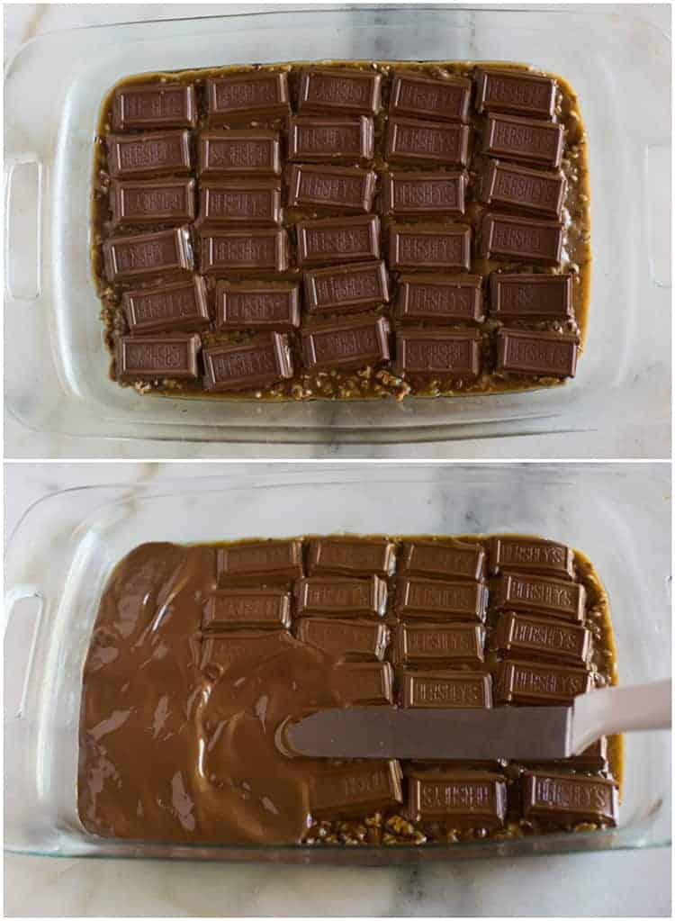Two photos of a clear 9x13'' pan on a white marble board with the pieces of Hershey's candy bar placed on top of a hot toffee bar to melt, and another photo of the chocolate beginning to melt and being spread into a smooth layer.