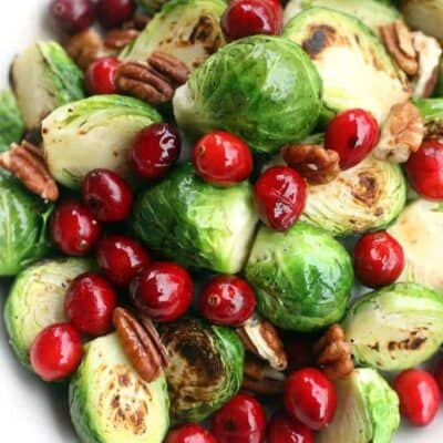 Sauteed Brussels Sprouts with Cranberries and Pecans