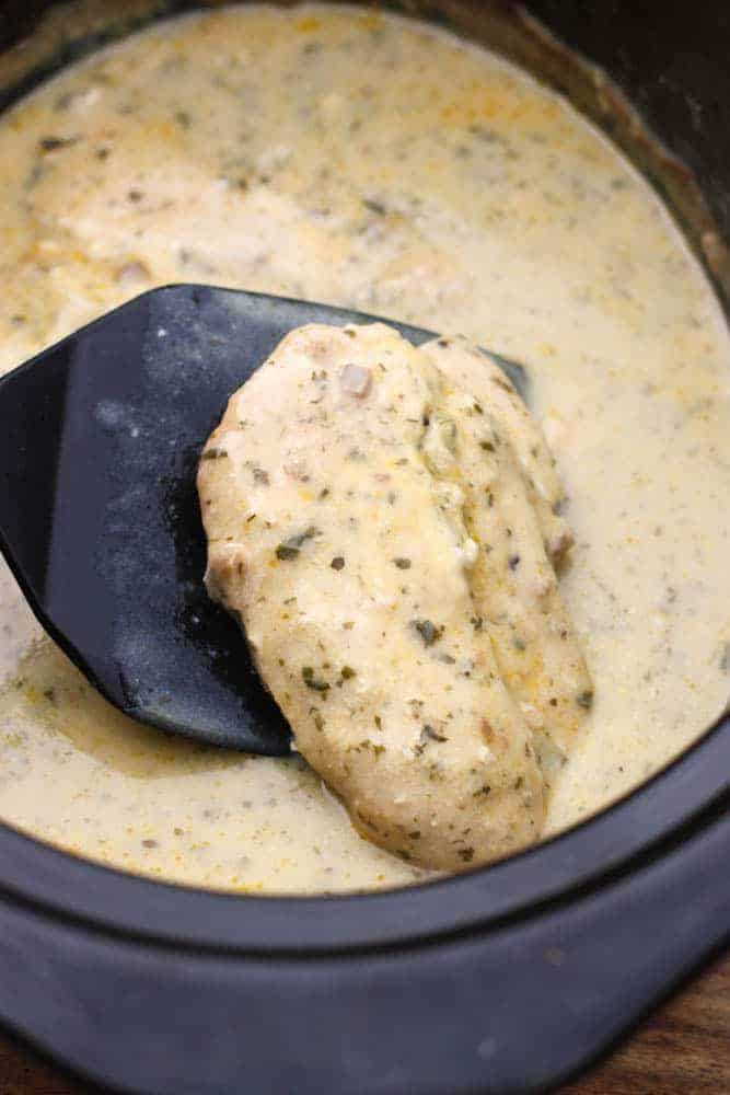 Slow Cooker Creamy Ranch Pork Chops with NO PACKET seasoning. The easiest slow cooker pork recipe, made from scratch! A family favorite! | Tastes Better From Scratch