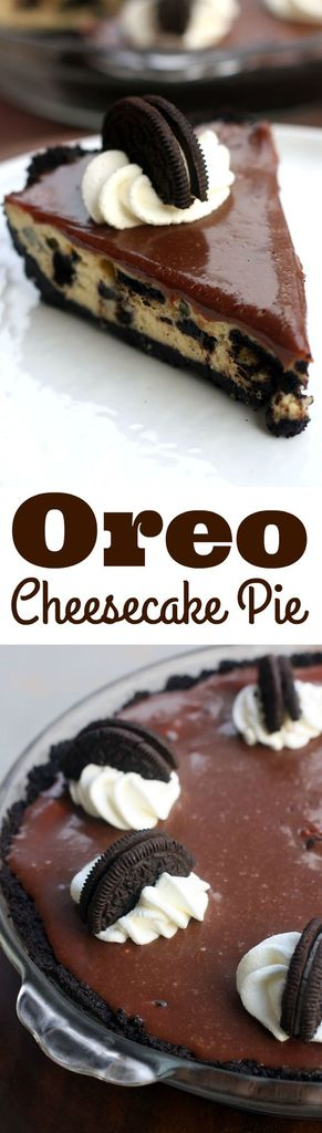 Oreo cheesecake pie with an Oreo crust, cheesecake filling, and chocolate ganache topping. A simple recipe that anyone can make and everyone will enjoy!  #oreocheesecake  #recipe #easy #tastesbetterfromscratch.com