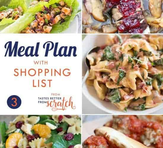 A collage of five meal ideas as part of a weekly meal plan