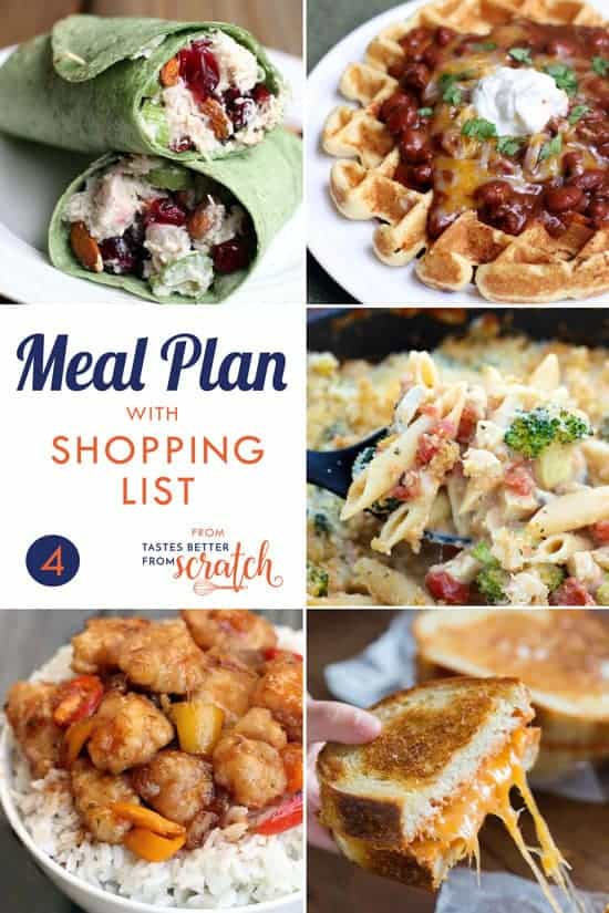 weekly meal plan 4 and printable shopping list