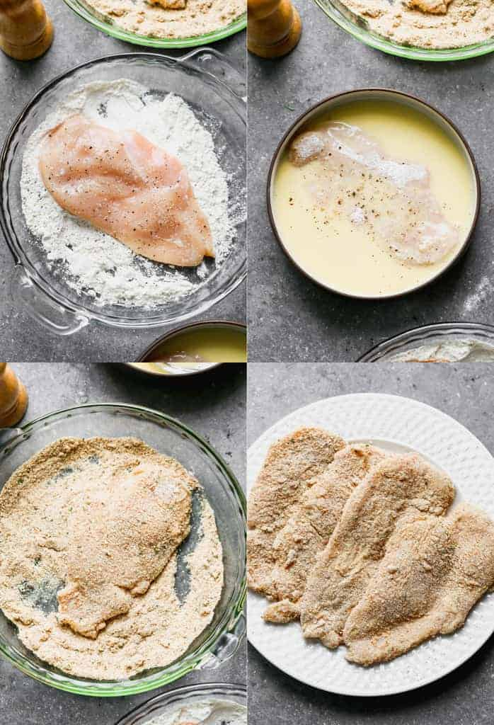 Process photos for breading chicken in flour, egg and breadcrumbs.
