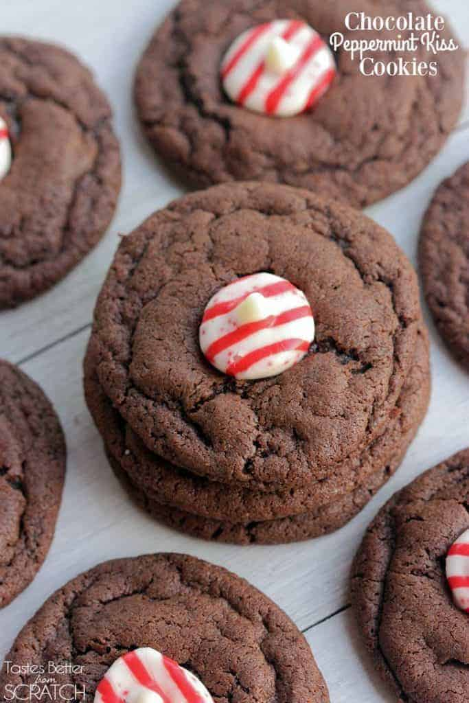 Chocolate Peppermint Kiss Cookies | Tastes Better From Scratch