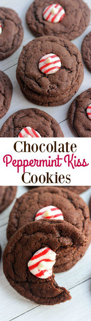 Soft and chewy Chocolate Peppermint Kiss Cookies   Tastes Better from Scratch