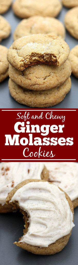 Soft and Chewy Ginger Molasses Cookies are one of my FAVORITE holiday cookies! These are super soft and chewy and I often make them with cinnamon cream cheese frosting on top. BEST COOKIES EVER! | Tastes Better From Scratch