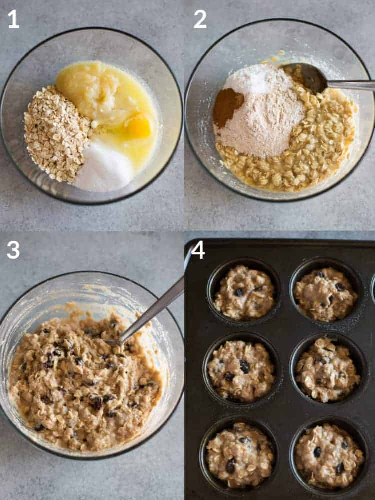 Four process photos for making healthy muffins with the ingredients in a mixing bowl, mixed together and divided into a muffin tin.