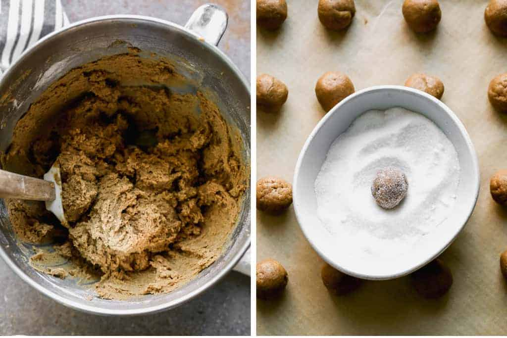 A mixing bowl with molasses cookie dough and another photo of the cookie dough balls rolled in sugar.