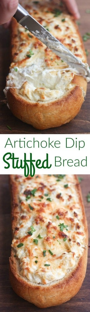Artichoke Dip Stuffed Bread - our favorite hot artichoke dip recipe stuffed into a delicious crusty baguette. Makes a great, easy party appetizer!| Tastes Better From Scratch