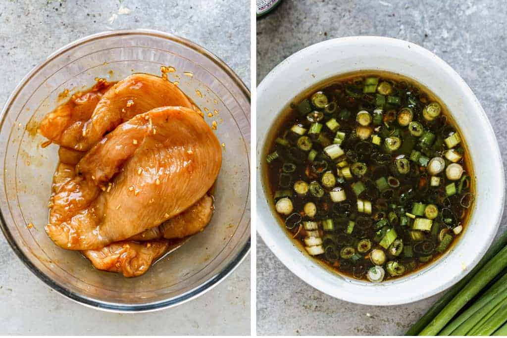 Raw chicken marinating in a bowl, next to another photo of a bowl of dressing for Asian chicken salad.