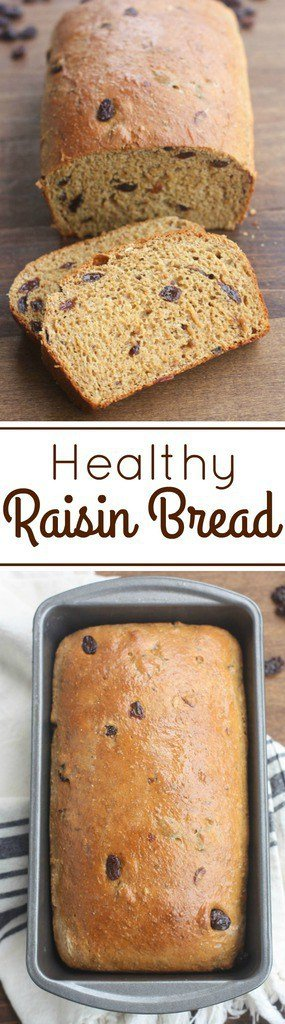 This Healthy Raisin Bread is the BEST! It bakes perfectly and is packed with fiber, protein and whole grains.| Tastes Better From Scratch
