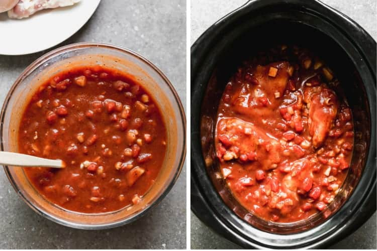 Sauce for slow cooker chicken tikka masala in a bowl, then poured over chicken in a crockpot.