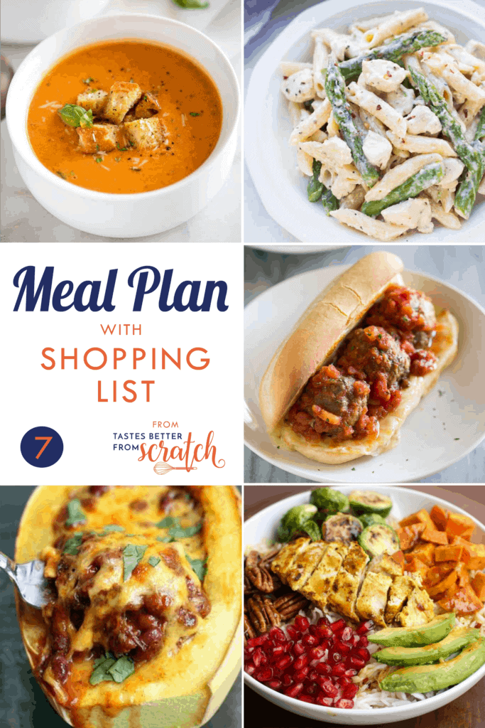 Collage of 5 dinners for a weekly meal plan.