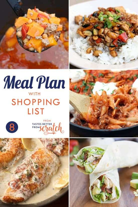 A collage of five dinner images for a weekly meal plan.
