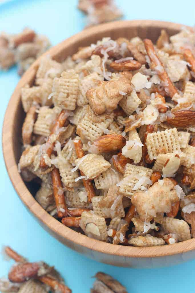 Almond coconut chex mix tastes better from scratch a wooden bowl filled with chex cereal teddy grahams pretzel sticks almonds ccuart