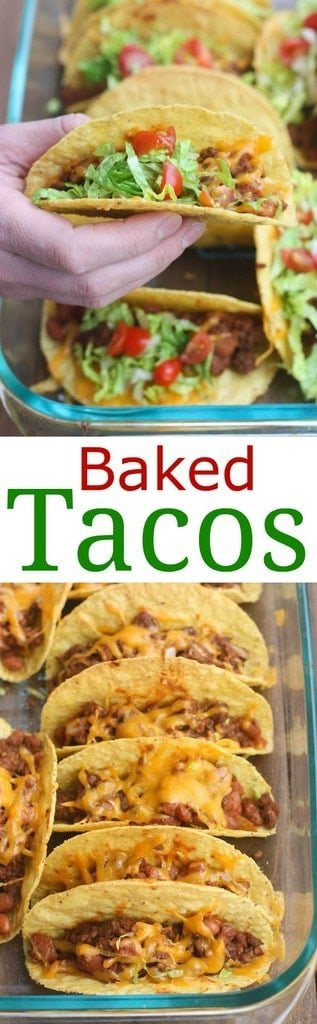 Oven Baked Tacos are soo easy and always a family favorite! Cheesy, crispy baked tacos with the best homemade taco filling (no packet seasoning!).   Tastes Better From Scratch