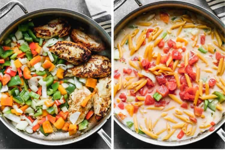Two process photos of a skillet cooking veggies and chicken, then cooking penne pasta in liquid with diced tomatoes.