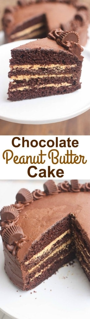 Chocolate Cake layered with a smooth and creamy peanut butter frosting and the BEST chocolate frosting over the top. Add some reese's peanut butter cups and you have the most delectable chocolate peanut butter cake ever! | Tastes Better From Scratch