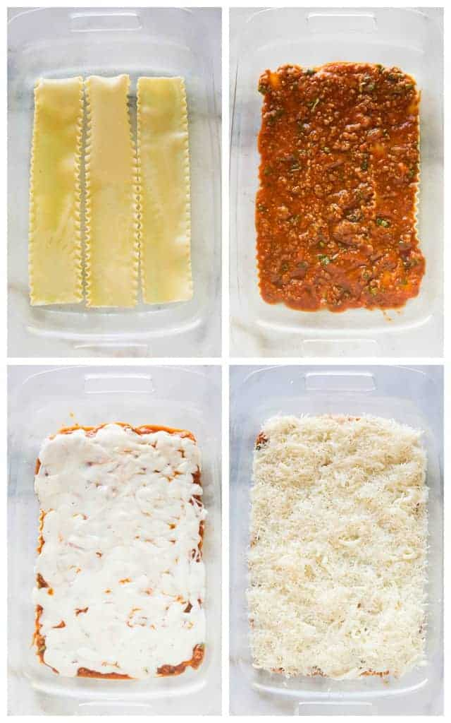 Four process photos for layering lasagna, starting with noodles, topped with meat sauce, bechamel sauce and cheese.