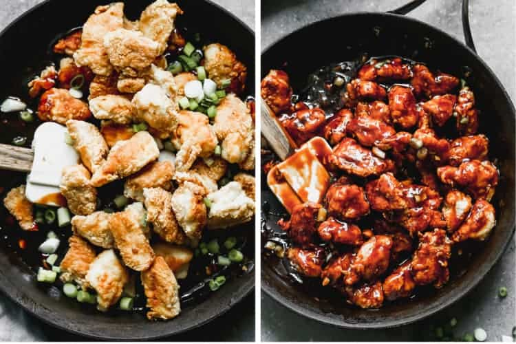 Pan-fried breaded chicken next to another photo of the chicken coated in sauce for General Tso's.