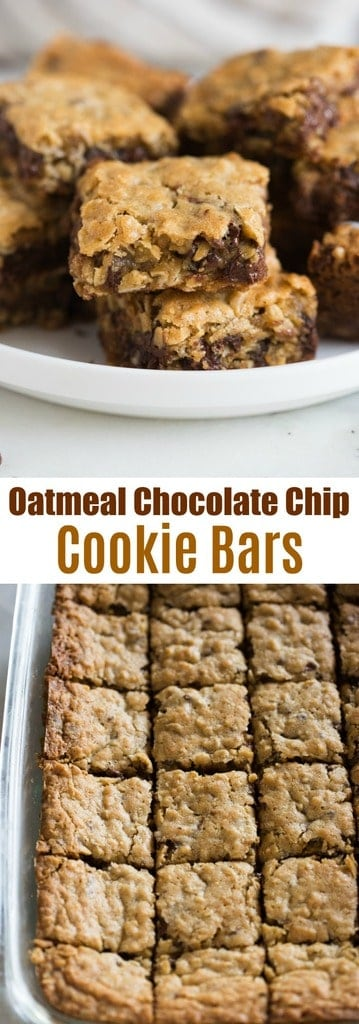 Oatmeal Chocolate Chip Cookie Bars Tastes Better From