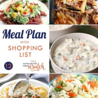Weekly Meal Plan #12 and Printable Shopping List