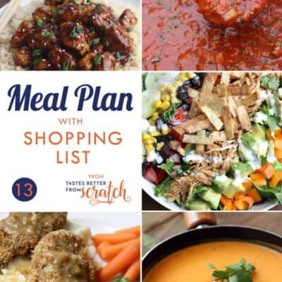 Weekly Meal Plan #13 and Printable Shopping List