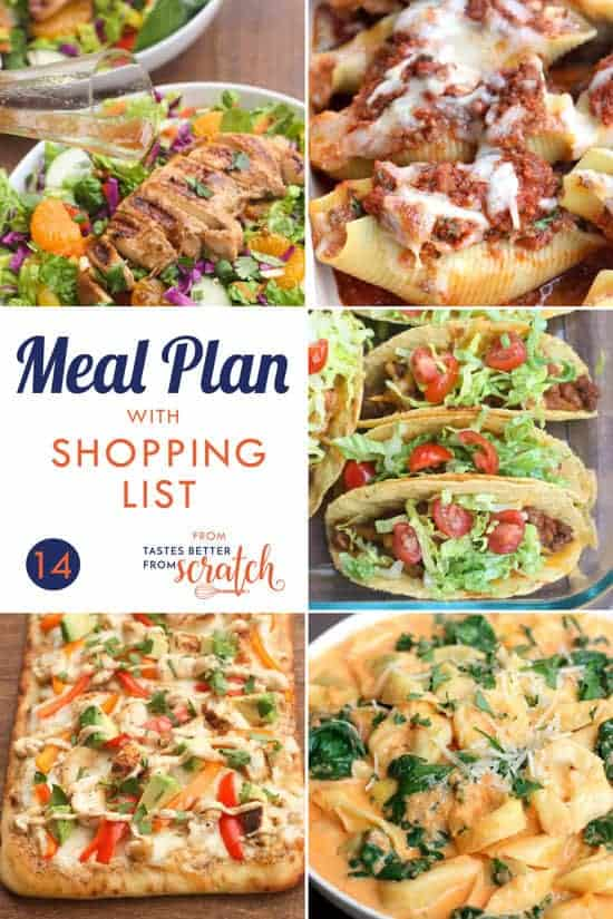 weekly meal plan 14 and printable shopping list